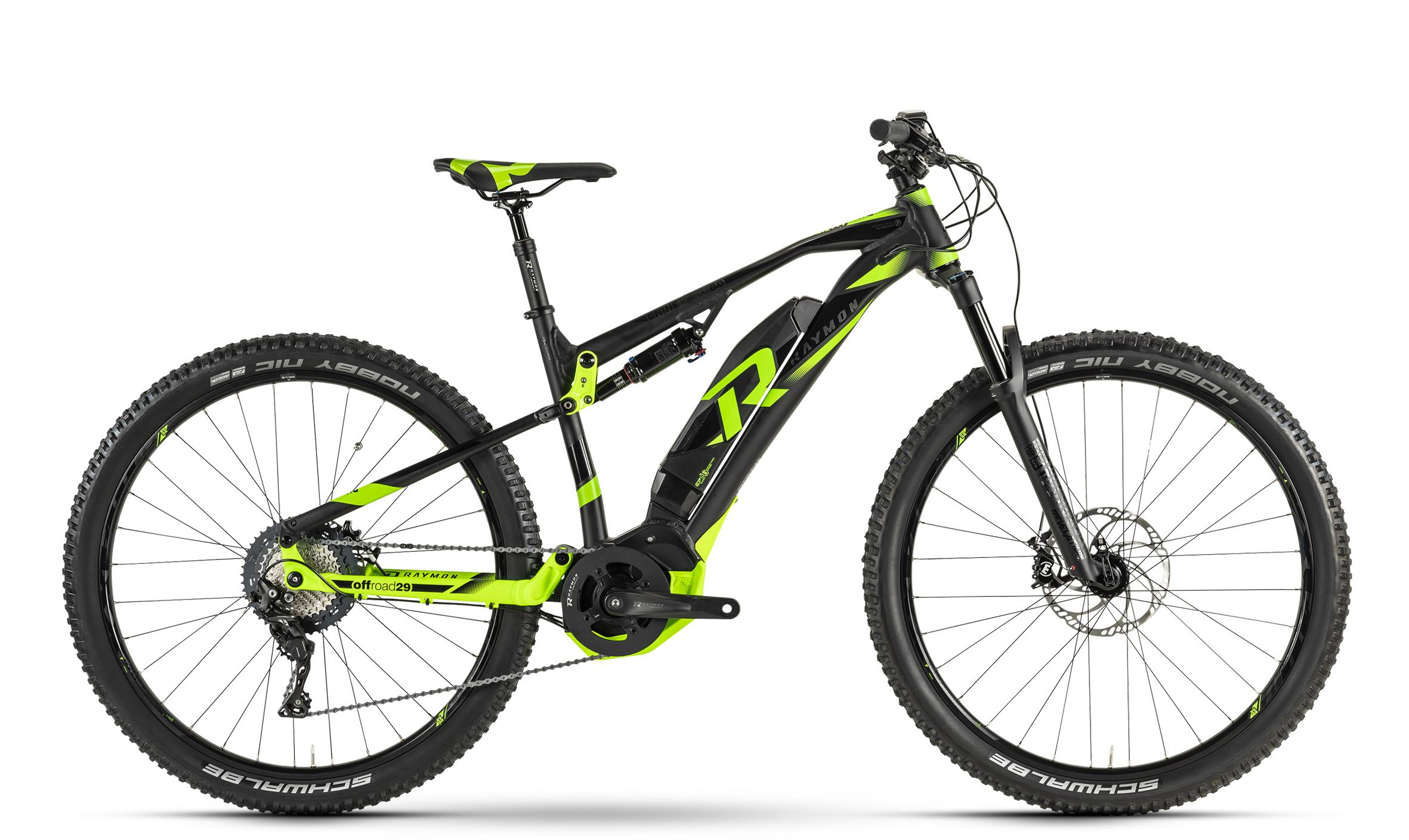 Raymon E-Nine TrailRay 8.0 black/black/green 2019 - MTB Full Suspension 29 -  42 cm