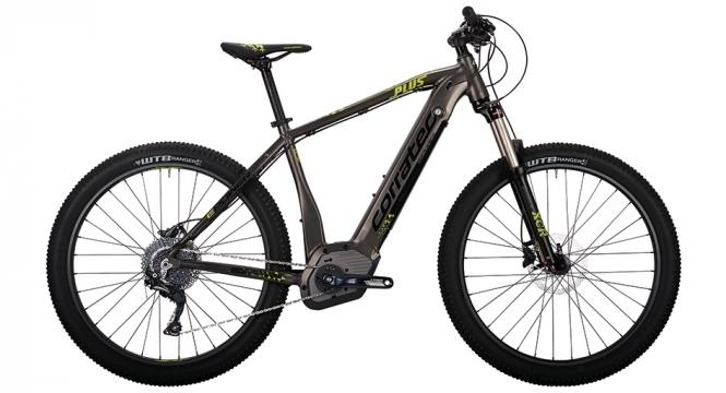 Corratec E-Power X Vert 650B PLUS Y E-Mountainbike Grau Braun matt/ Neongelb/Schwarz glanz