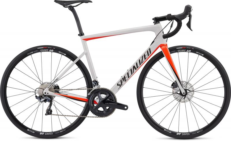 Specialized Men's Tarmac Disc Comp - 28 -  Gloss Metallic White Silver/Rocket Red/Tarmac Blac 2019