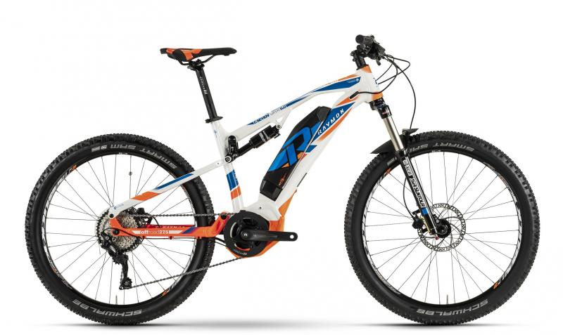 Raymon E-Seven FullRay 6.0 - MTB Full Suspension 27,5 -  white/blue/orange 2019